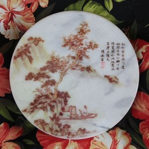 Chinese Asian Transfer Print Marble Plate S